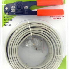 4World Cablu UTP, cat 5e, 25m + cleste sertizare + 10 buc mufe RJ45 - Cablu retea