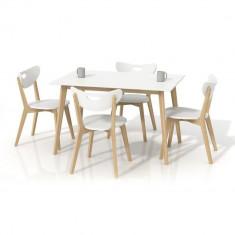 Set masa HM Lorrita alba plus 4 scaune Peppi - Set mobila living