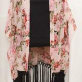 Kimono din voal cu trandafiri, superb, nou, Marime: L, Culoare: Din imagine