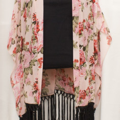 Kimono din voal cu trandafiri, superb, nou