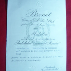 Brevet pt. Medalia a 50a Aniversare a PCR, semnat N.Ceausescu