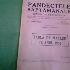 PANDECTELE SAPTAMANALE - 1932 - Carte Jurisprudenta