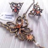 Set bijuterii DAMA vintage-lantisor si cercei cu rhodium si Swarovski -1535 - Set bijuterii handmade si fashion