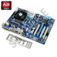 KIT Gigabyte GA-A75-D3H + AMD A8 3850 2.9Ghz, HD 6550D, HDMI, DVI, VGA + Cooler - Placa de Baza Gigabyte, Pentru AMD, FM1, DDR 3, Contine procesor, ATX