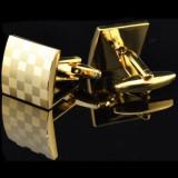 Butoni  aurii metalici forma patrata + cutie simpla cadou, Inox