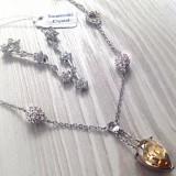 Set bijuterii(colier+ cercei)  placat cu aur 18k