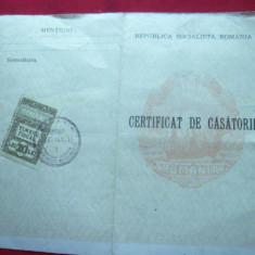 Certificat de casatorie 1986, fam. Niculescu-Mizil - Diploma/Certificat