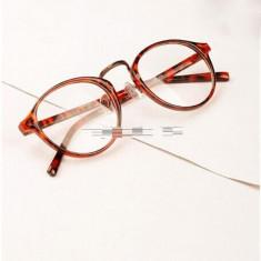 Ochelari retro fantezie lentila transparenta animal print + cutie cadou