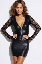 123123Lenjerie Lady Lust Sexy Costum Piele Wetlook Rochie Fermoar Dantela In V Neagra
