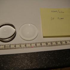Lentila optica sticla 40mm D focala aprox 70mm / lupa /grosime 0.9mm