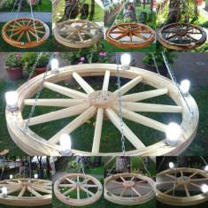 Roata din lemn Rustica, candelabru din roata, suport flori, Butoaie Din lemn