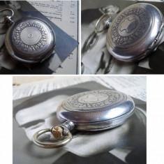 Carcasa din argint masiv pt ceas de buzunar - inceput sec XX - stare excelenta - Ceas de buzunar vechi
