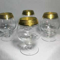 Set 4 pahare cognac, cristal, super lux, aur 24k, colectie, cadou