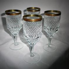 Set patru pahare vin, cristal lux, aur 24k, colectie, cadou, vintage