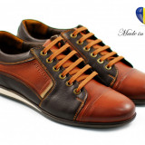 Pantofi barbati casual maro din piele naturala cu siret (brant siliconic) - Model Louis - Pantof barbat, Marime: 40, 41, 42, 43, 44