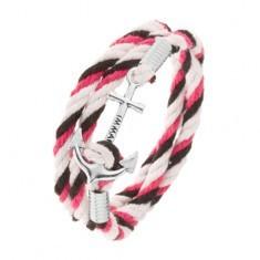 Brăţară realizată din şnururi albe, negre şi roz, ancoră lucioasă cu inscripţie - Bratara prieteniei