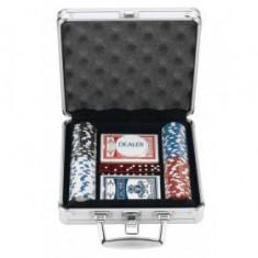 Set Poker 100 piese servieta din aluminiu