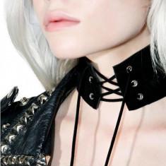 Sexy Gothic Punk Vintage Choker Lant Gat Piele Eco Alb Negru Snur