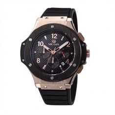 Ceas cronograf lux MEGIR afisaj data curea silicon + cutie cadou - Ceas barbatesc Invicta, Lux - sport, Quartz, Inox