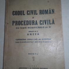 CODUL CIVIL ROMAN SI PROCEDURA CIVILA, 1942 - Carte Drept civil