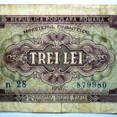 219 ROMANIA RPR 3 LEI 1952 SR. 980