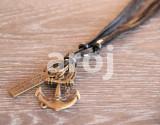 Pandantiv / Colier / Lantisor – snur piele ajustabil – Ancora