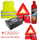Kit 100% Omologat Complet Auto Cod Rutier - Stingator Tip Spray, Trusa Medicala, Triunghi, Vesta + 1 Triunghi CADOU