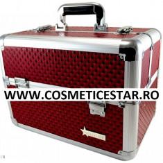 Geanta Fraulein38 pentru Manichiurista/Cosmeticiana/Make up/Hairstylist Visiniu - Geanta cosmetice
