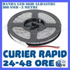 ROLA BANDA 300 LED LEDURI SMD 5630 ALBASTRU - 5 METRI, IMPERMEABILA (WATERPROOF)