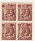 1952 Romania,LP 320a -Planul cincinal(35bani/4lei)-supratipar rosu(bloc 4)-MNH, Nestampilat