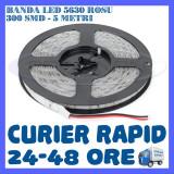ROLA BANDA 300 LED LEDURI SMD 5630 Rosu - 5 METRI, IMPERMEABILA (WATERPROOF) - Banda LED