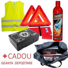 Pachet Complet Auto Cod Rutier OMOLOGAT - Trusa Medicala, 2x Triunghiuri, Stingator Tip Spray, Vesta + Geanta Depozitare CADOU - Body Kit