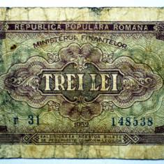 224 ROMANIA RPR 3 LEI 1952 SR. 538