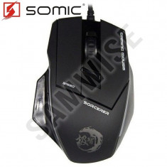 **NOU**Mouse Gaming Somic Jizz Sorcerer G1980 Black, 2400 dpin...GARANTIE 1 AN!, USB, Optica, Peste 2000