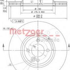 Disc frana MINI MINI Cooper S - METZGER 25116 V - Discuri frana