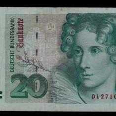 Bancnota 20 marci mark 1993 1 octombrie Germania bancnote straine - bancnota europa