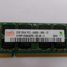 Memorie Laptop Ddr2 hynix 2gb 2rx8 Pc2-6400s-666-12 12luni garantie - Memorie RAM laptop, DDR3, 4 GB, 1066 mhz, Dual channel