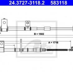 Cablu, frana de parcare HYUNDAI AVANTE 1.6 - ATE 24.3727-3118.2