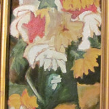 "PVM - Tablou ""Flori"" ulei / carton  semnat N. Stefan, Realism"