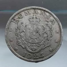 Moneda Romania 2 lei 1924 cu defect de batere spectaculos numismatica bani vechi