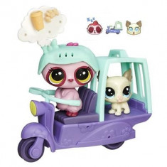 Jucarie Littlest Pet Shop City Rides Sloth And Lhasa Apso Scooter
