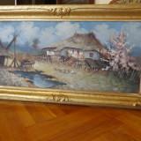 Peisaj de primavara intr-o curte taraneasca, tablou in ulei pe carton semnat - Pictor roman, Peisaje, Impresionism