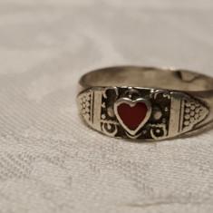 Inel argint cu coral INIMIOARA finut VECHI Delicat de Efect SUPERB vintage