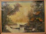 "PVM - Tablou ""Lac Casa Barci"" ulei / panza semnat Alinuca?, Peisaje, Realism"