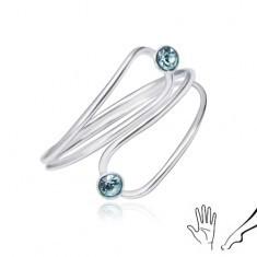 Inel din argint pentru mână sau picior, zirconiu albastru deschis, într-un contur de lacrimă - Inel argint
