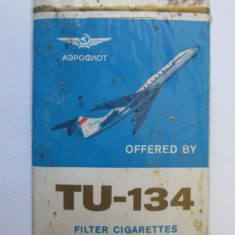 PACHET NOU TIGARI COLECTIE AEROFLOT TU-134 DIN ANII 80 - Pachet tigari