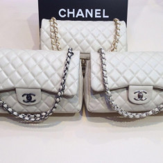 Genti Chanel Classic Flap 3.55 Collection Normal Textured - Geanta Dama Chanel, Culoare: Din imagine, Marime: Mare, Geanta de umar, Piele