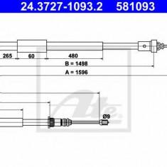 Cablu, frana de parcare RENAULT EURO CLIO III 2.0 16V Sport - ATE 24.3727-1093.2