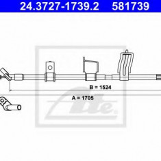 Cablu, frana de parcare NISSAN DUALIS 1.5 dCi - ATE 24.3727-1739.2