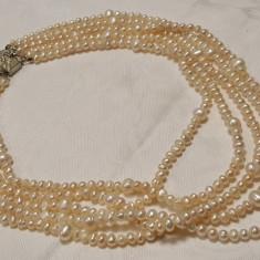Colier argint cu PERLE de cultura pe 5 randuri SPLENDID superb Elegant de Efect - Colier perle